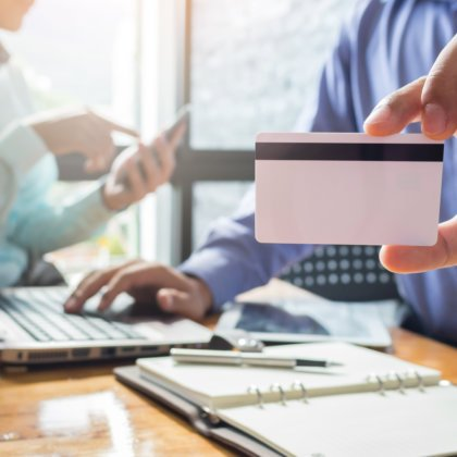 Online shopping, Men hands holding credit card and using laptop